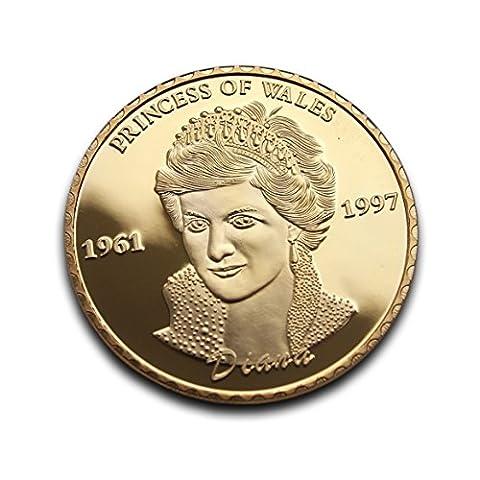 Plaqué or Lady Diana Princesse de Galles anniversaire commémorative pièce de monnaie