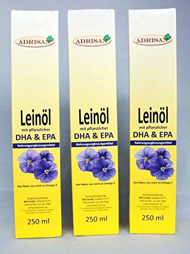 Adrisan BIO-Leinöl mit DHA+EPA, 3er Pack (3 x 250 ml) mit Dosierer, natives Speiseöl aus 1. Kaltpressung (750)