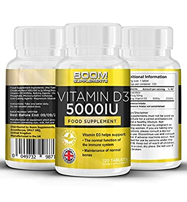 Vitamin D3 5000iu | Premium Vitamin D3 5000iu | Powerful Sunshine Vitamin | 120 Tablets | FULL 4 Month Supply | Scientifically Proven To Help Improve Your Mood, Energy Levels and Strengthen Immune System | Safe And Effective | Best Selling Vitamin | Manuf