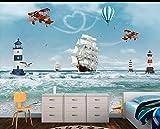 YUANLINGWEI Carta Da Parati Murale Carta Da Parati Moderna Murale Per Bambini Modello 3D Per Elicottero In Stile Oceano E Mare In Stile Nordico Per Camera Da Letto Con Cameretta,100Cm (H) X 200Cm