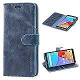 Mulbess Handyhülle für Xiaomi Redmi Note 5 Hülle, Leder Flip Case Schutzhülle für Xiaomi Redmi Note 5 Tasche, Dunkel Blau