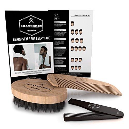 Cuidado de la Barba de Shavermen: Cepillo para Barba + Peine Barba + Peine para Barba plegable de bolsillo. Kit Cuidado Barba perfecto para Barbas cortas, medianas y largar | Ayuda con el picor de l