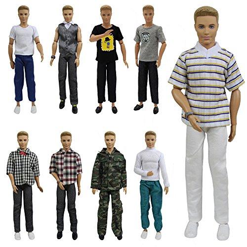 Kleidung Für Barbie-puppen (ZITA ELEMENT 5er Puppen Kleider Outfit für Barbie Ken Kleidung Puppe Fashionistas mann Tops und Hosen junge Puppenkleidung zufälligen Stil)