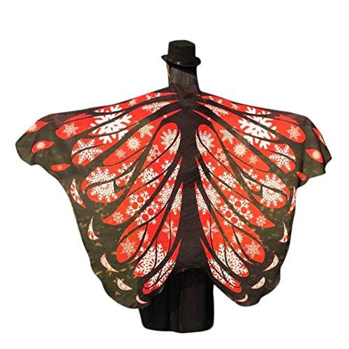 kostüm, KOBAY Frauen Weiches Gewebe Schmetterlingsflügel Schal Fee Damen Nymph Pixie Kostüm Zubehör für Show / Daily / Party (197*125CM, Rot-3) (Fee Kostüm Baby Mädchen)