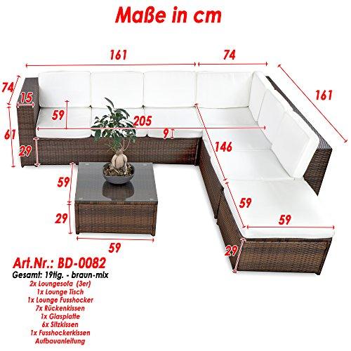 XINRO 19tlg XXXL Polyrattan Gartenmöbel Lounge Sofa günstig – Lounge Möbel Lounge Set Polyrattan Rattan Garnitur Sitzgruppe – In/Outdoor – handgeflochten – mit Kissen – braun - 2