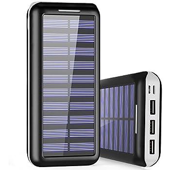 Externer Akku PLOCHY 24000mAh Solar Powerbank, Solar Ladegerät Mit 3  Ausgänge Und Lighting U0026 Micro Dual Input Power Bank Handy Für IPhone, IPad,  ...