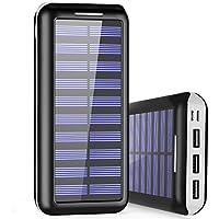 Cargador Portátil PLOCHY 24000mAh Cargador Móvil Portátil Batería Externa, Entrada Doble y 3 Puertos de Salida USB, Cargador Solar Power Bank para iPhone, iPad, Samsung, LG, y Otros Dispositivos(Blanco)