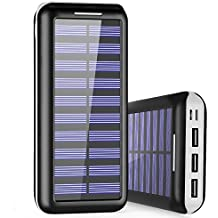 Cargador Porttil PLOCHY 24000mAh Cargador Mvil Porttil Batera Externa Entrada Doble y 3 Puertos de Salida USB Cargador Solar Power Bank para iPhone iPad Samsung LG y Otros DispositivosBlanco