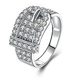 KnSam Ewige Liebe Schmuck 925 Sterlingsilber Ring Set Zirkonia Steinchen Eheringe für Damen Jahrestag Ringgr. 58 (18.5)