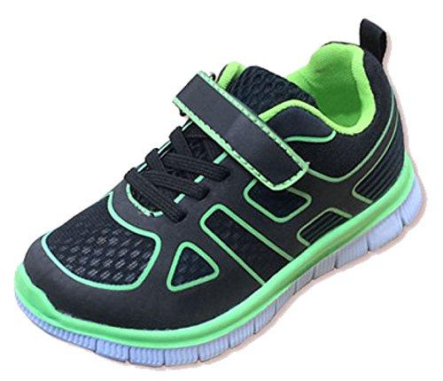 Unisex Glow in the Dark Velcro/pizzo elasticizzato Casual lacci Black/Lime Textile Mesh/PU