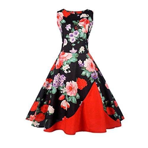 Longra Damen Vintage 1950er Ärmellos Blumenkleid Festlich Cocktailkleid Abendkleid Rockabilly Kleid Damen Audrey Hepburn Kleid Sommerkleider Knielang Kleid Faltenrock Swing Kleid Ballkleid (Red, 2XL) (1950er-jahre-t-shirts)