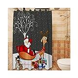Knbob Duschvorhang Antischimmel Waschbar Weihnachtsmann Stil 5 Shower Curtain 180X200CM mit Vorhanghaken Badezimmer Vorhänge