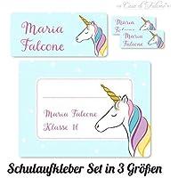 Namensaufkleber Set für Schule Einhorn   Mit deinem Wunschnamen/Wunschtext   60 Stk. drei verschiedene Größen