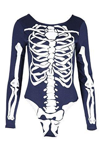 Pour femmes Halloween Squelette Bones Jersey bodycon Tunique Robe T-shirt Top Marine Body