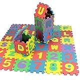 Tappeto da gioco per bambini, con 36 pezzi, con alfabeto e numeri, realizzato in morbida schiuma, gioco a puzzle, prodotto da Trimming Shop.