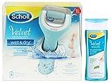 Scholl Velvet Smooth Wet&Dry Wiederaufladbarer Hornhautentferner + Scholl Fussbad 150 ml/Seidig Weiche Füsse Im Handumdrehen