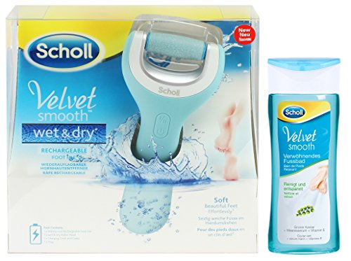 Scholls Fußbad (Scholl Velvet Smooth Wet&Dry Wiederaufladbarer Hornhautentferner + Scholl Fussbad 150 ml/Seidig Weiche Füsse Im Handumdrehen)