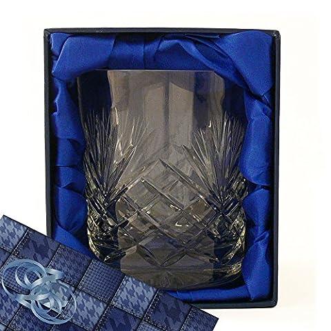 Whisky Glas, eine atemberaubende vollständig Schnitt, Original 24% Bleikristall, Whisky Tumbler Glas, in einem Satin (Gift Box Galleria)