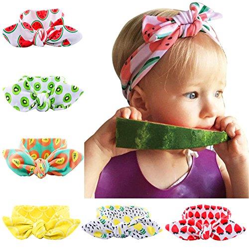 Tomkity fascia per capelli neonata elastica per neonate bambine (6pz-frutta)