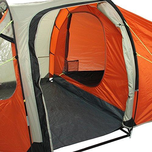 10T Mandiga 3 Orange - Tunnelzelt für 3 Personen, Campingzelt mit großer Schlafkabine, wasserdichtes Familienzelt mit 5000mm, Zelt mit 2 Eingängen und 2 Fenstern, Festivalzelt mit Dauerbelüftung, 3 Mann Zelt mit Tragetasche, Zeltheringe und Zeltgestänge - 19