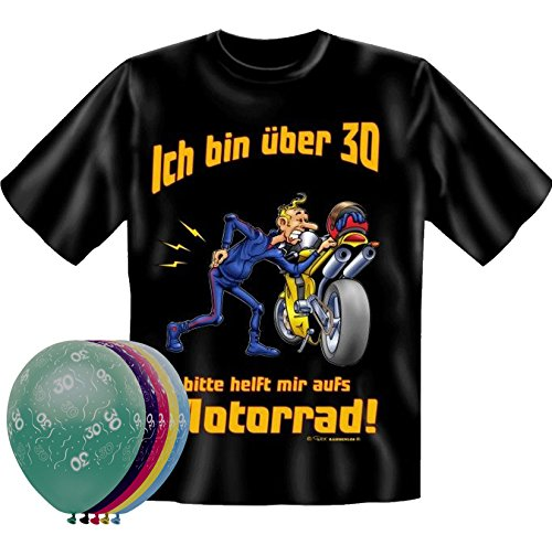 T-Shirt bin über 30 bitte helfen Sie mir aufs Motorrad Größe L und 5 Luftballons (Über Motorräder T-shirt)