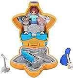 Polly Pocket Mini-Coffret orange Le Concert de Shani avec 1 mini-figurine et accessoires micro, guitare et son étui, jouet enfant, édition 2018, FRY32