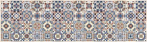Tape design ku-na1488-240 passatoia, microfibra di ciniglia di poliestere, multicolore-beige, 52x240