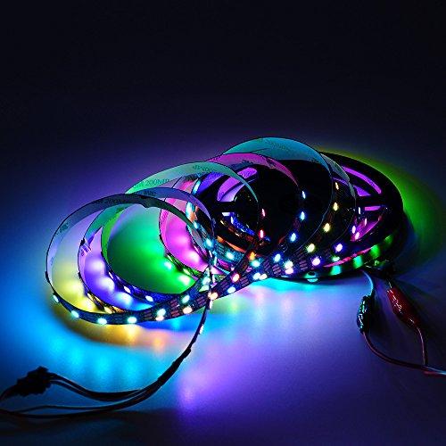 Preisvergleich Produktbild BTF-LIGHTING WS2812B 5M 60 LEDs/Pixels/m 300LEDs RGB Schwarz PCB Streifen mit 5050 SMD LEDs NichtWasserdicht IP30