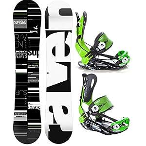 Raven Snowboard Set: Snowboard Supreme Black/Green 2019 + Bindung Fastec FT270 Green L