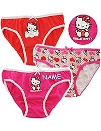 alles-meine.de GmbH 3 TLG. Slip / Unterhosen -  Katze - Hello Kitty  - Größe 2 bis 8 Jahre - Gr. 98 bis 134 - 100 % Baumwolle - Mädchenslip / Unterwäsche - für Kinder Pants UNT..