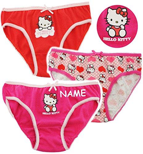 alles-meine.de GmbH alles-meine.de GmbH 3 TLG. Slip / Unterhosen - Katze - Hello Kitty - incl. Name -Größe 4 bis 5 Jahre - Gr. 110 bis 116 - 100 % Baumwolle - Mädchenslip / Unterwäsche - für Kin..