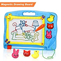 lenbest Large Magnetic Drawing Board, Colorful Erasable Doodle Scribble Boards with Three Animal Stampers Educational Toys to Draw for Kids - Blue