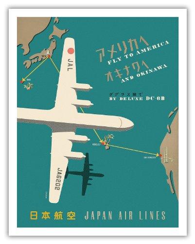 Pacifica Island Art Fliegen Nach Amerika und Okinawa von Deluxe 14557-- Japan Airlines-Route Map-Vintage Airline Travel Poster-Fine Art Print 11