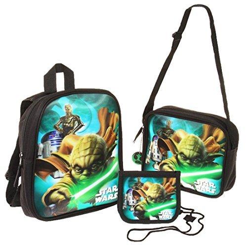 Set sac à dos, bandoulière, porte-monnaie et porte-clé garçon Star Wars Noir