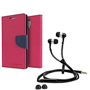 Aart Fancy Diary Card Wallet Flip Case Back Cover For Mircomax A310-(Pink) + Zipper earphones/Hands free With Mic *Stylish Design* for all Mobiles By Aart store