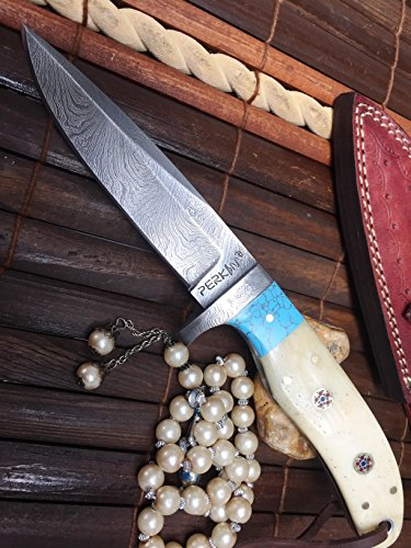 couteau-de-chasse-damas-avec-etui-en-cuir