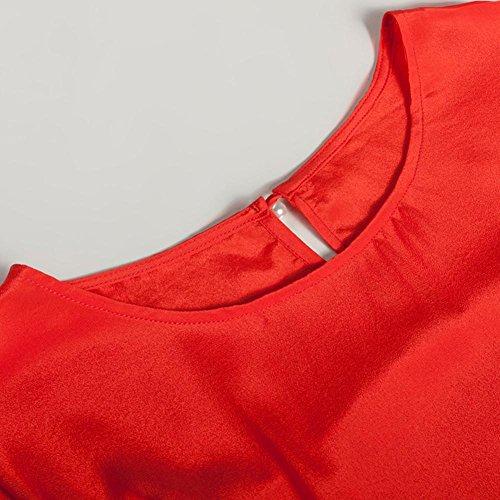 SHISHANG T-shirt mode féminine 55% de coton + 45% manches de chemise en nylon rouge lâche été lâche col rond red