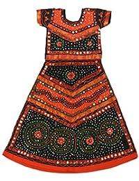 Pikaboo Orange & Black Girls Chaniya Choli Dress (1-2 Years)