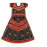Pikaboo Orange & Black Girls Chaniya Choli Dress (10-12 Years)