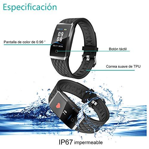 Willful Pulsera Actividad,  Impermeable IP67 Pulsera Inteligente con Pulsómetro,  Reloj Inteligente para Deporte,  Podómetro,  Pulsera Deporte para Android y iOS Teléfono móvil para Hombres Mujeres Niños