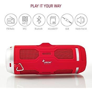 Leicke DJ Roxxx Active Stereo Tragbarer Lautsprecher 10W Rot–Tragbare Lautsprecher (2-Wege, 3,81cm, 10W, verkabelt und Kabellos, NFC/Bluetooth/3.5mm, 4.0EDR)