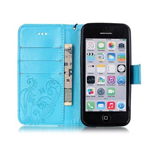 iPhone Case Cover Gemaltes Farbenmuster-Mappenartkasten magnetisches entwerfen Flipfolio PU-Lederabdeckung standup Abdeckungsfall für iPhone 5C ( Color : Brown , Size : IPhone 5C ) Blue