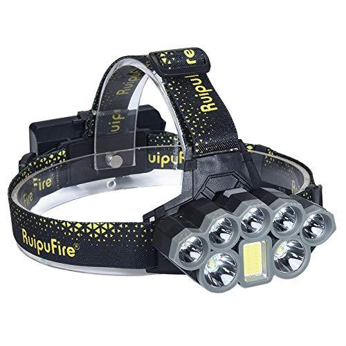 99native 7X XM-L T6 LED + COB Wiederaufladbare Scheinwerfer Scheinwerfer Travel Head Torch, 20000 Lumen wasserdichter Stirnlampen,4 Helligkeits-Modi Perfekt zum Laufen/zum Campen (Schwarz)