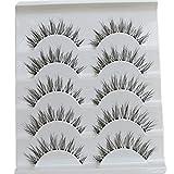Bluelans® 5 Pairs Black Long Cross False Eyelashes Makeup Eye Lash Extensions