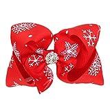 Hosaire Bandeau Cheveux élastique Forme de Nœud Papillon Bandeaux Serre Tête pour bébé petite Fille accessoires cheveux décoration Cadeaux de Noël pour Bébé Rouge