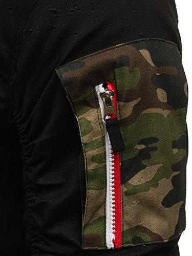 BOLF Herren Bomberjacke Military Camo-Muster MIX Schwarz_0830