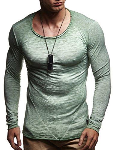 LEIF NELSON Herren Pullover Longsleeve Hoodie Sweatshirt Sweatshirt Basic Rundhals Langarm oversize Shirt Hoody Sweater LN6302 Gruen Verwaschen