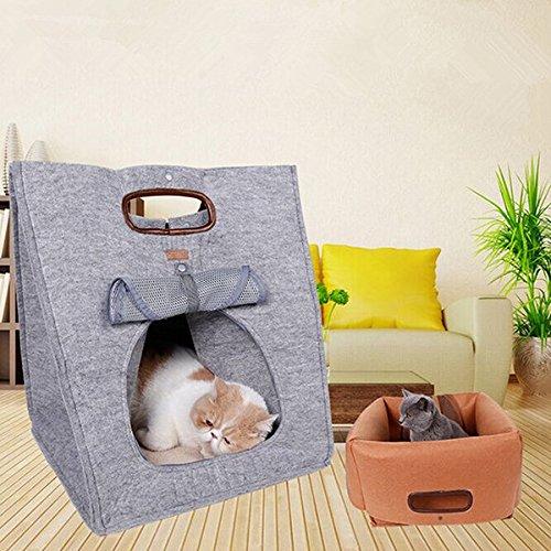 bureze Kleine Haustiere Hund Katze Multifunktions-Natürlicher Filz Reinigungstuch Pet für Outdoor Carrier Handtasche Hundebett (Natürliche Stoff-handtaschen)