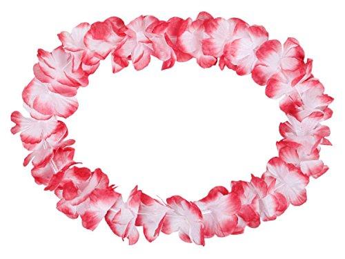 Alsino Blumenkette Hawaiiketten 48er Set weiß zu rot - Hawaii Party Deko Hula Ketten 15