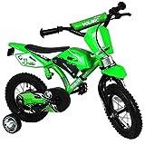 TW24 Kinderfahrrad im Mountainbikedesign - Fahrrad mit Hilfsräder - Kinderrad - Kinderfahrrad 12 Zoll Motobike grün